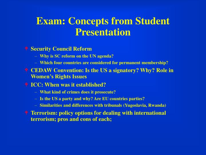 Exam concepts from student presentation