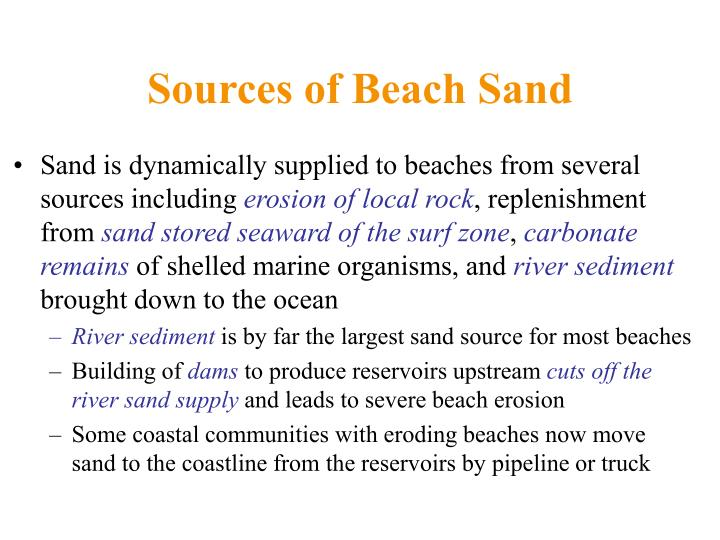 Sources of Beach Sand