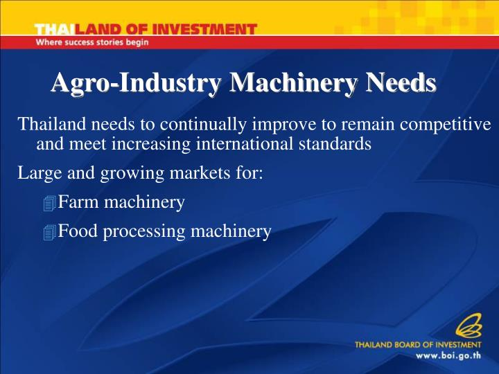 Agro-Industry Machinery Needs