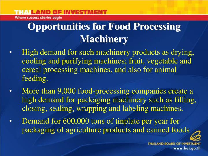 Opportunities for Food Processing Machinery