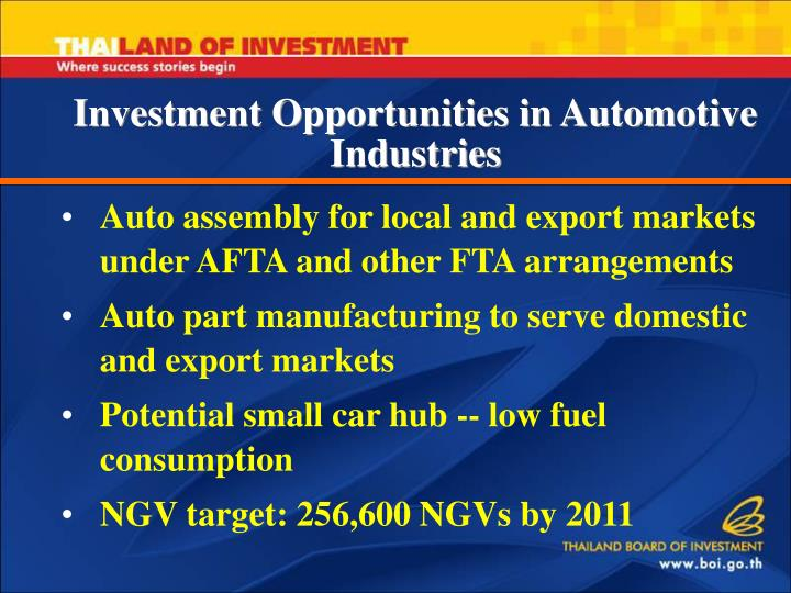 Auto assembly for local and export markets under AFTA and other FTA
