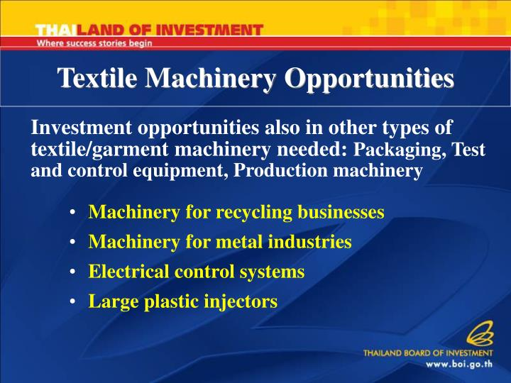 Textile Machinery Opportunities