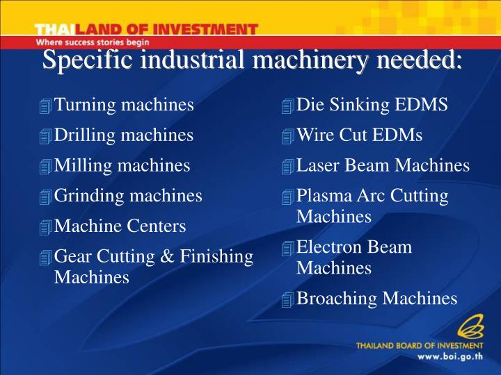 Specific industrial machinery needed: