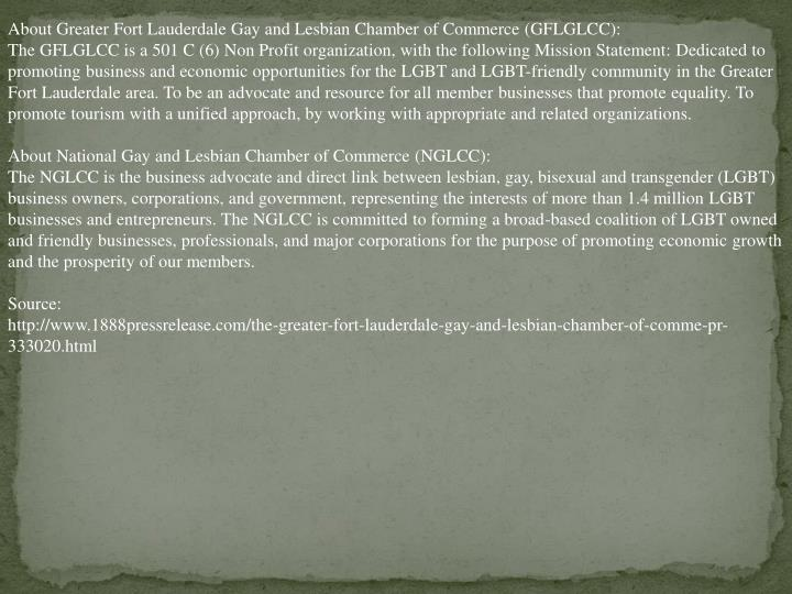 About Greater Fort Lauderdale Gay and Lesbian Chamber of Commerce (GFLGLCC):
