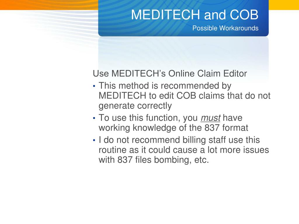 MEDITECH and COB