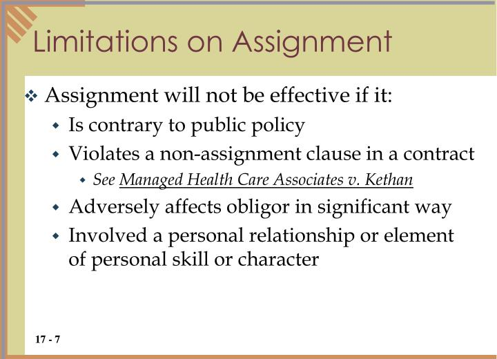 Limitations on Assignment