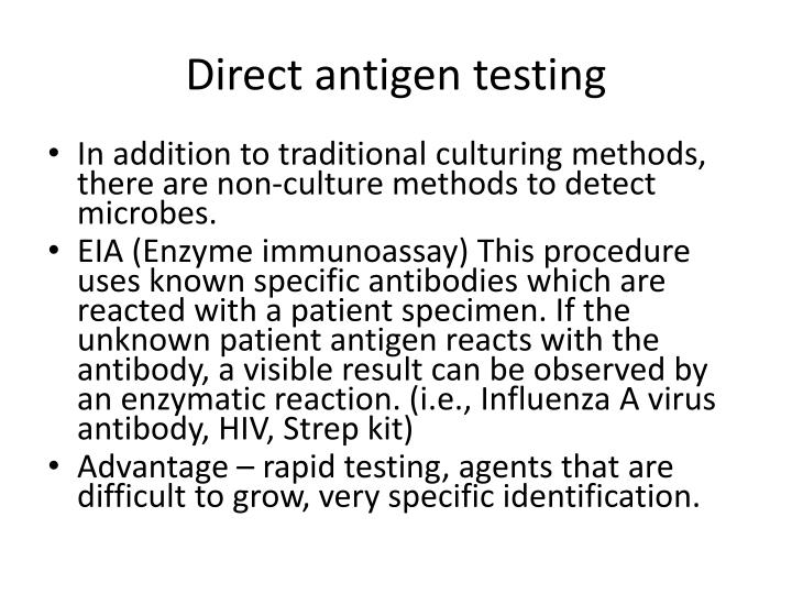 Direct antigen testing
