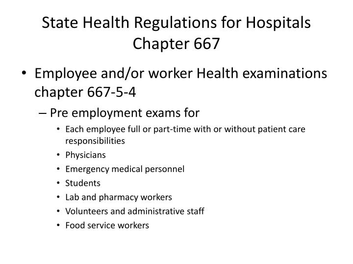State Health Regulations for Hospitals Chapter 667