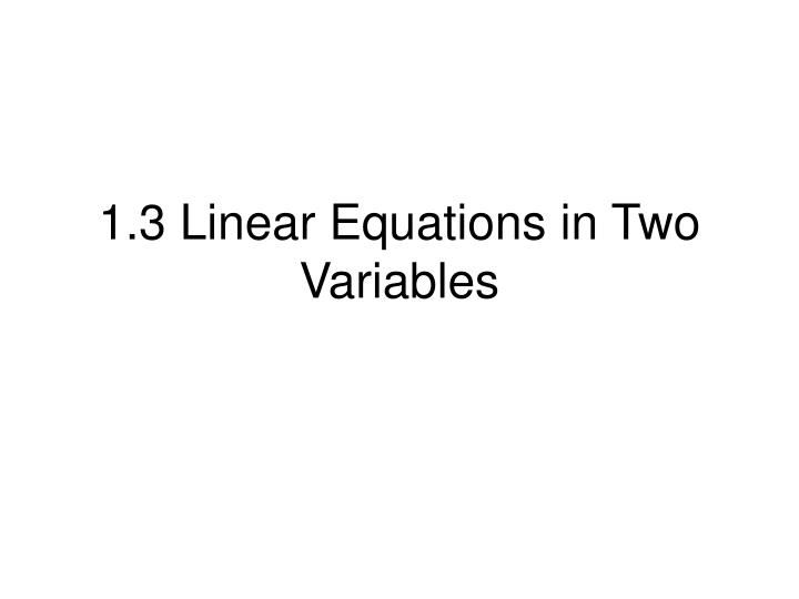 1 3 linear equations in two variables n.