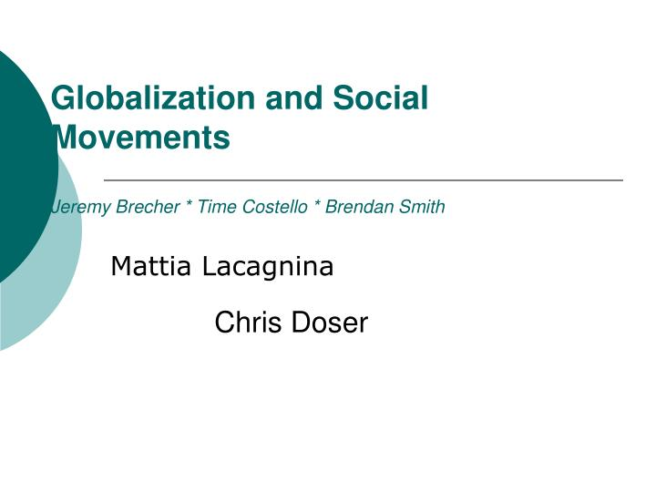 globalization and social movements jeremy brecher time costello brendan smith n.