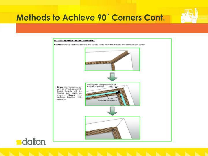 Methods to Achieve 90˚ Corners Cont.