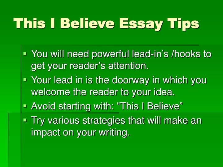 my beliefs essay Nursing process essay examples my belief essays on life and art essays on sunday free essays on leadership.