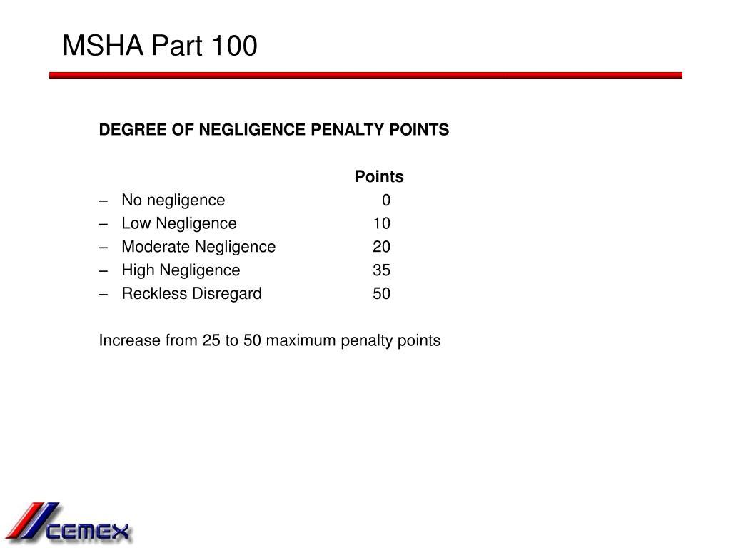 MSHA Part 100