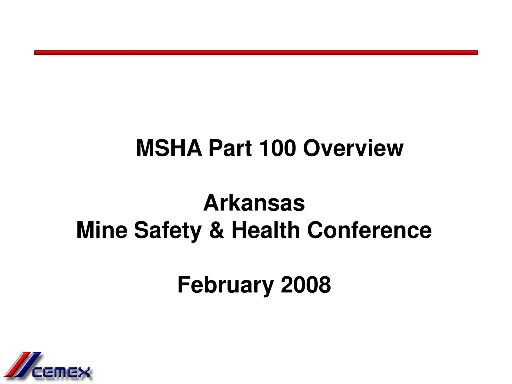 MSHA Part 100 Overview