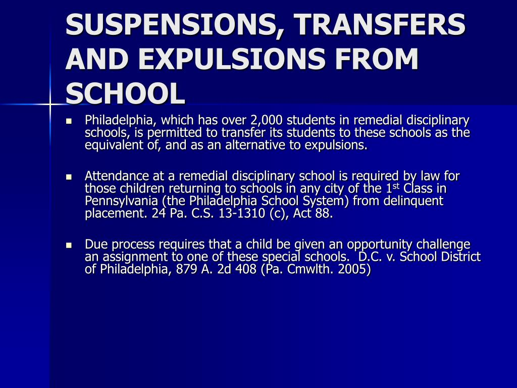 SUSPENSIONS, TRANSFERS AND EXPULSIONS FROM SCHOOL