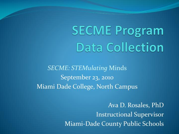 secme program data collection n.