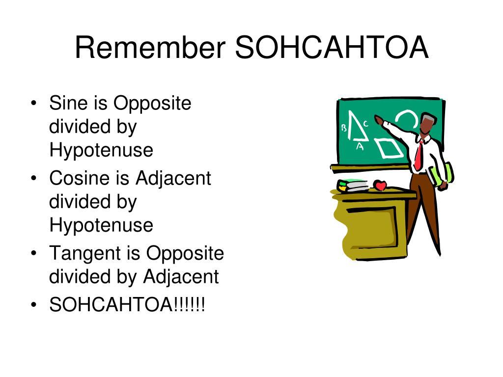 Remember SOHCAHTOA