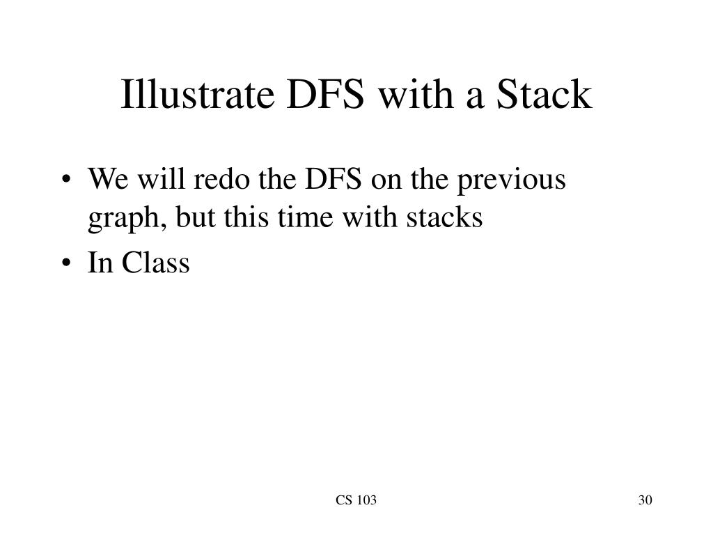 Illustrate DFS with a Stack