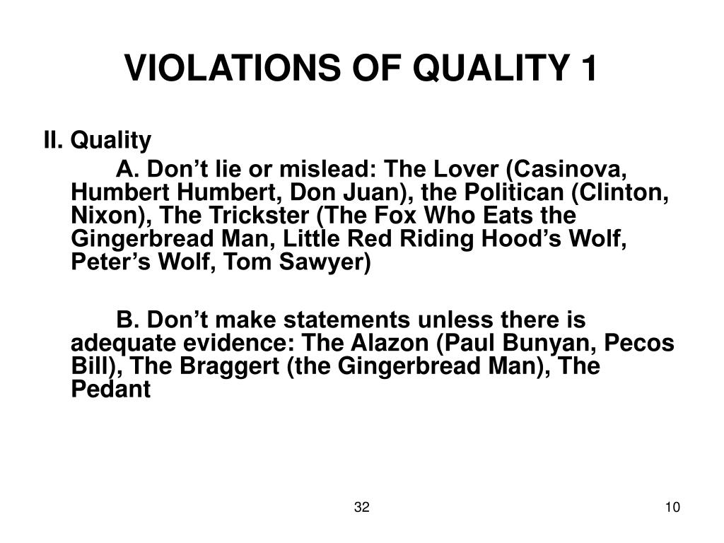 VIOLATIONS OF QUALITY 1