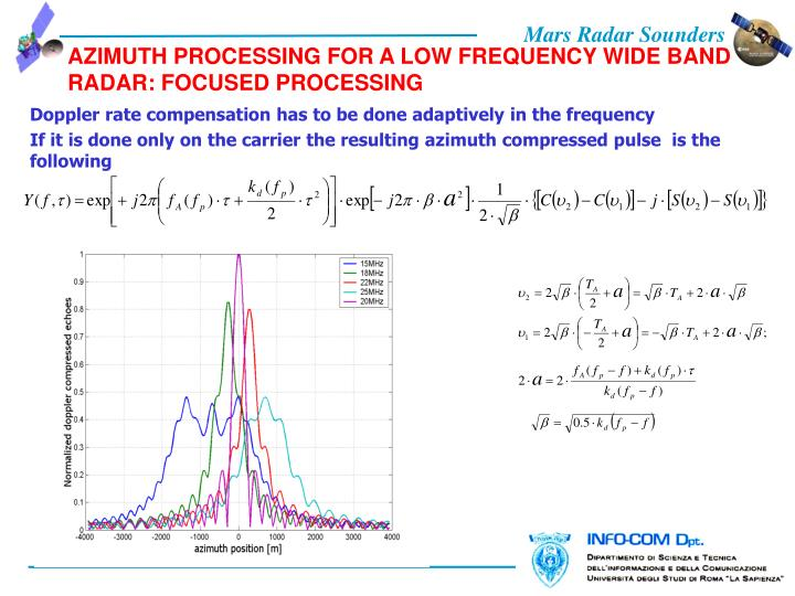 AZIMUTH PROCESSING FOR A LOW FREQUENCY WIDE BAND RADAR: FOCUSED PROCESSING