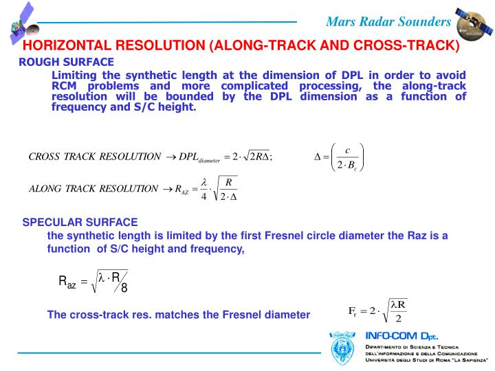 HORIZONTAL RESOLUTION (ALONG-TRACK AND CROSS-TRACK)