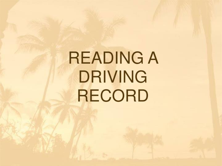 reading a driving record n.