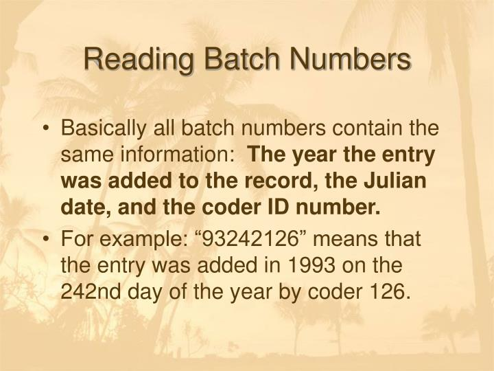 Reading Batch Numbers