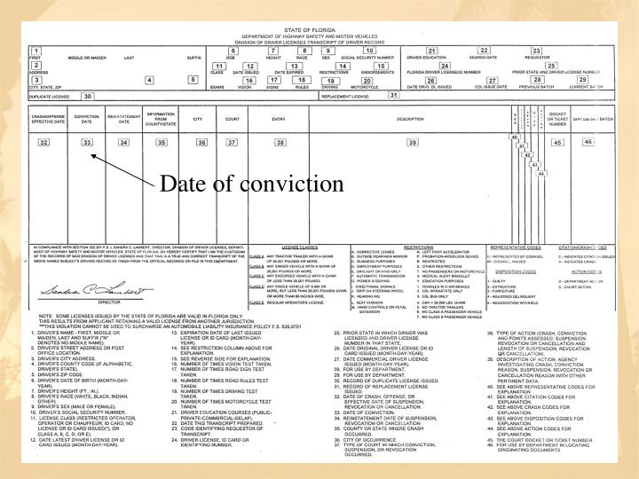Date of conviction