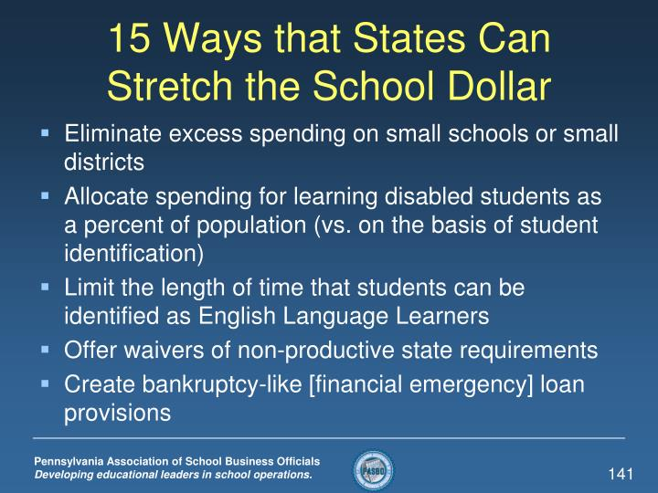 15 Ways that States Can Stretch the School Dollar