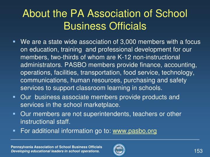 About the PA Association of School Business Officials