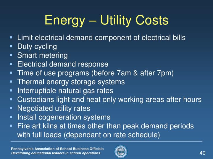 Energy – Utility Costs