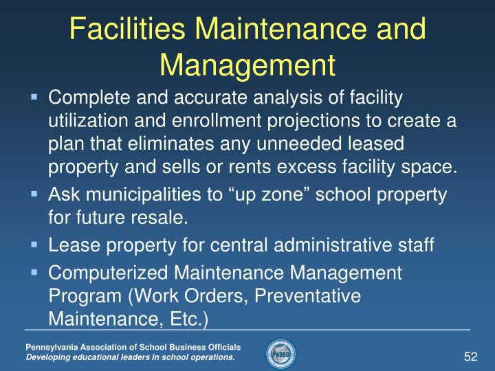 Facilities Maintenance and Management