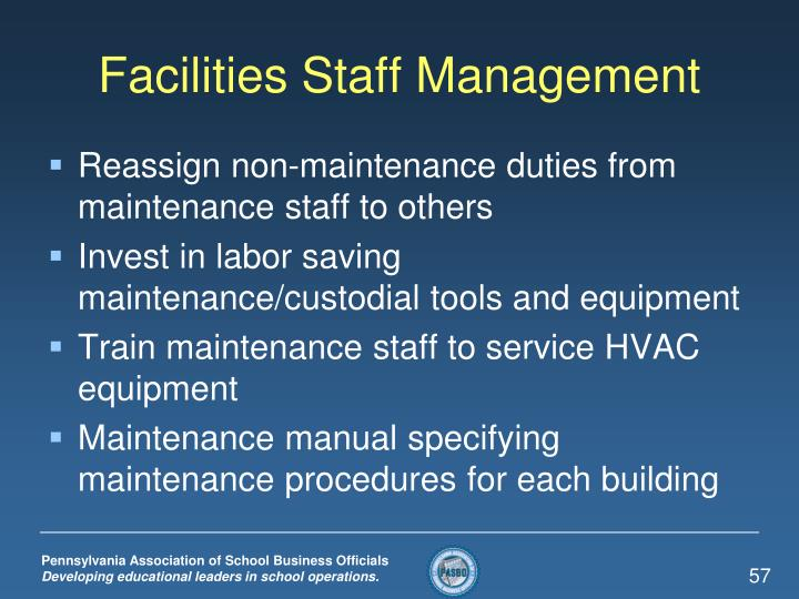 Facilities Staff Management