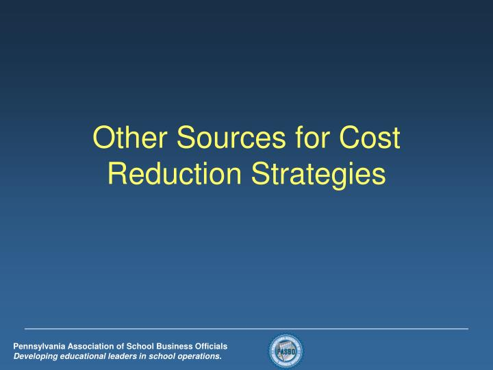 Other Sources for Cost Reduction Strategies