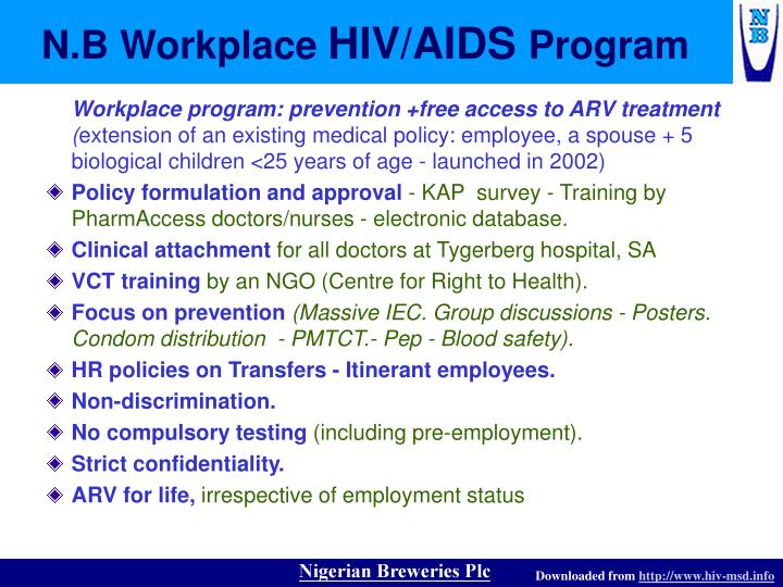 hivaids in the workplace Hiv/aids and the workplace (pdf : 155 kb) developed to meet the requirements for annual hiv/aids education for state employees set forth in texas health and safety code section 85111 [texas legislature.