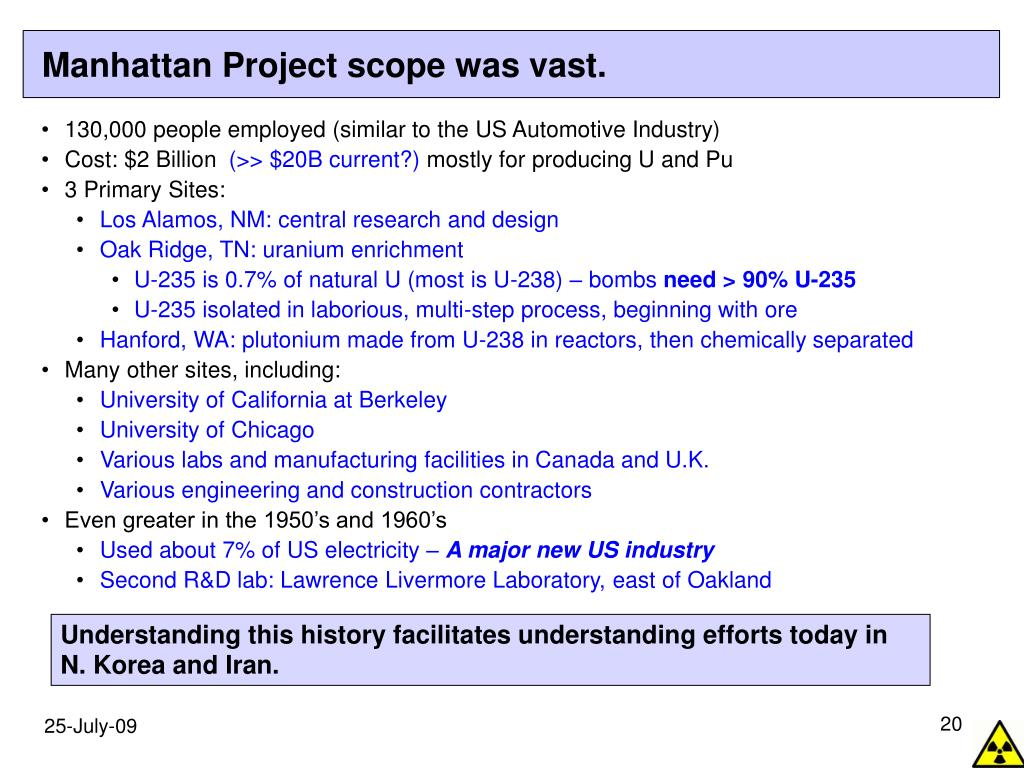 Manhattan Project scope was vast.