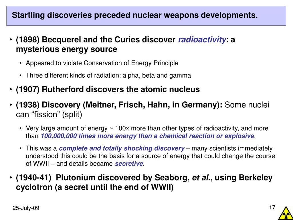 Startling discoveries preceded nuclear weapons developments.