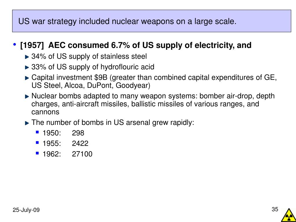 US war strategy included nuclear weapons on a large scale.