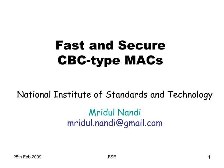 fast and secure cbc type macs n.