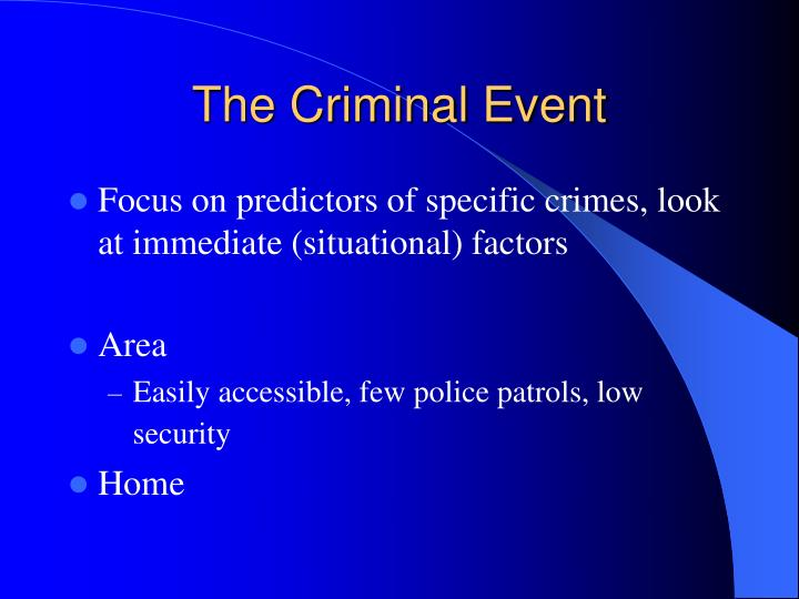 The Criminal Event