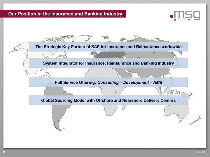 Our position in the insurance and banking industry