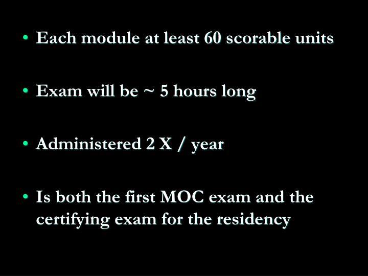 Each module at least 60