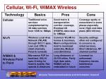cellular wi fi wimax wireless
