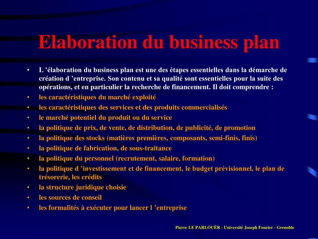 Elaboration du business plan