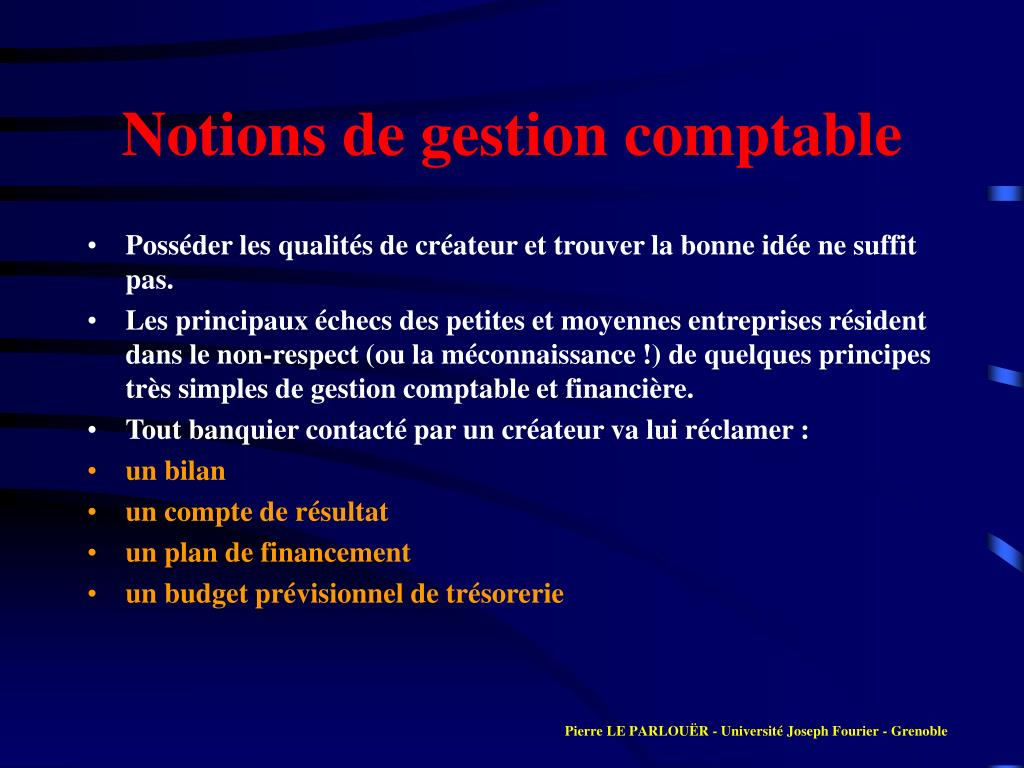 Notions de gestion comptable