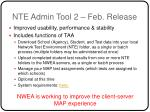 nte admin tool 2 feb release
