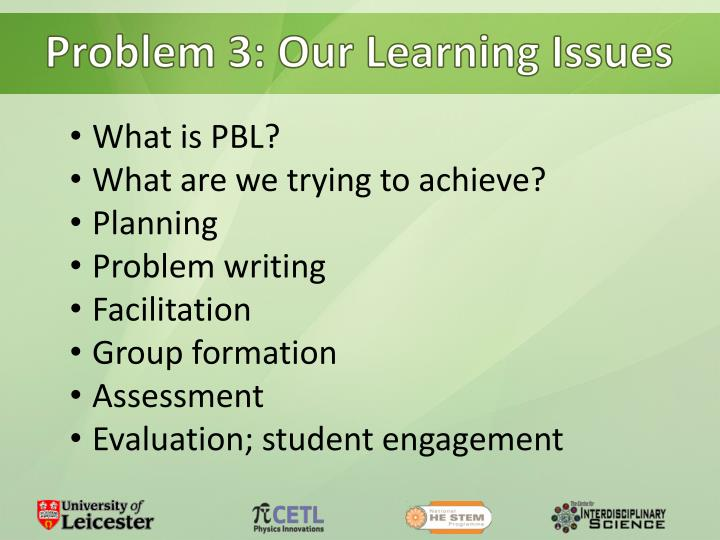 Problem 3: Our Learning Issues
