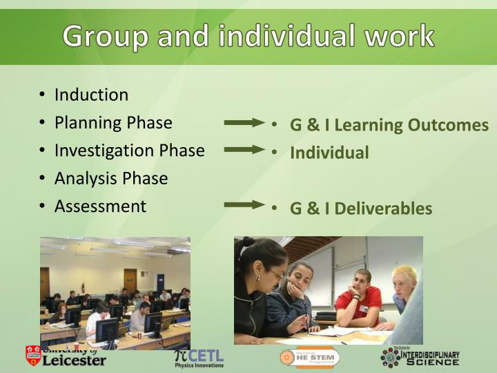 Group and individual work