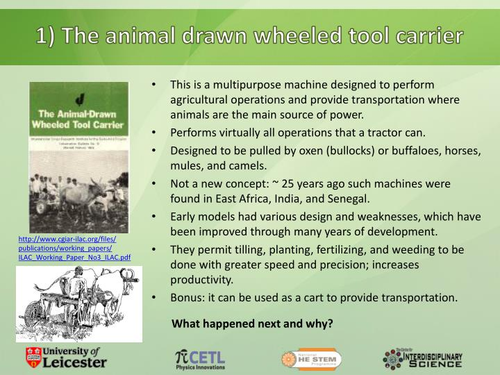 1) The animal drawn wheeled tool carrier