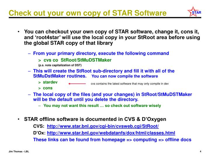 Check out your own copy of STAR Software